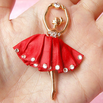 Ballerina Metal Cabochon Ballet Dancer Charm (Red) w/ Clear Rhinestones (38mm x 58mm) Cell Phone Deco Scrapbooking Decoden Supplies CAB103