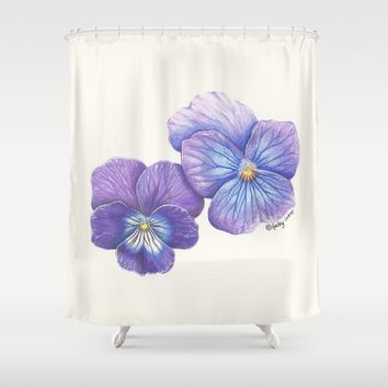 Purple Pansies Shower Curtain by haleyivers