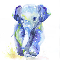 Baby Elephant Art, Watercolor Painting, Baby Boy Nursery Decor, Girl, Elephant Print, Wall art, baby Gift ideas, Animal Prints Watercolour