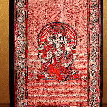 Small Ganesha Tapestry Batik Lord Ganesh Tapestries Indian God Ganesha Wall hanging Hippy Bedspread Hippie Bedsheet Curtain Beach Cover Deco