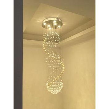 Led Artistic Spiral Crystal Lamp Chandelier