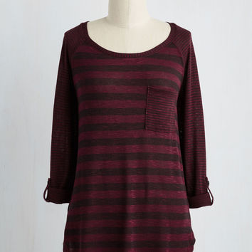 Valued Downtime Top in Burgundy | Mod Retro Vintage Short Sleeve Shirts | ModCloth.com