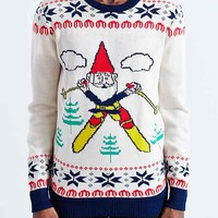Skiing Gnome Crew Neck Sweater- Ivory