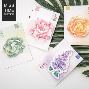 DCCKL72 M46 Fresh Various Flower Garden Memo Pad Sticky Notes Stick Message Sticker Bookmark Marker of Page Stationery School Supply