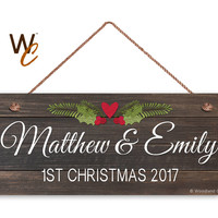 "Couple's First Christmas Sign, Personalized 6""x14"" Sign, Custom First Name & Date, Gift For Newlyweds, Dark Wood Style With Floral Accent"