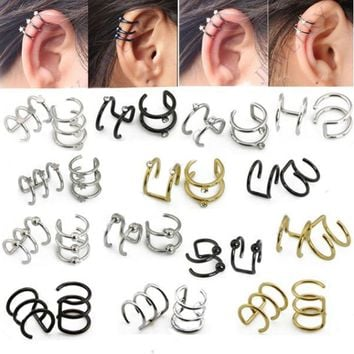 Illusion Captive Bead Rings, Fake Cartilage Clip-On Ring ,Helix Earrings, Non Pierced Clip On Closure Ring Sold as pair