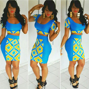 Two Pieces Club Bandage Crop Top and Skirt Dress Set
