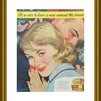 "Happy Couple OR Chanel No 5 Ad - ""Man Around The House"" 1950's Stanley Bedroom Wall Decor OR Chanel Perfume Ad on reverse; wall art to frame"