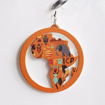 Orange Color African Heritage Printed Map Earrings | Afrocentric Earrings | Ethnic Earring| Afrocentric Jewelry.