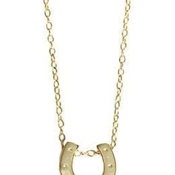 Heavenly Horseshoe Pendant Necklace ~ 14k Yellow Gold overlay ~ Adjustable chain