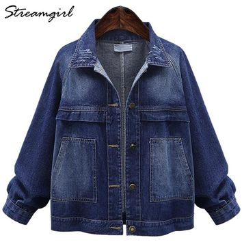 Denim Jacket Women Plus Size Jean Jacket Women Denim Jackets Women's Autumn Big Size Fall Jackets For Women 2018 Denim Coat