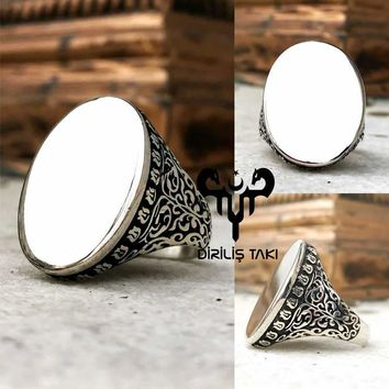Letter engraving possible silver mens ring