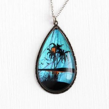 Butterfly Wing Pendant - Vintage Sterling Silver Blue Morpho Necklace - 1930s Art Deco Iridescent Souvenir Palm Tree Tropical Beach Jewelry