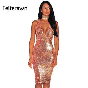 Feiterawn 2017 Women Summer Sexy Fashion Party Rose Burgundy Liquid Sequins Cutout Back Club Dress Vestido Lentejuelas DL61409