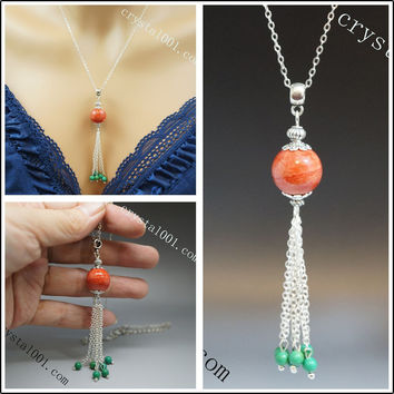 Red Coral tassels necklace long chain red stone necklace