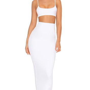 Two For One White Sleeveless Spaghetti Strap Scoop Neck Crop Top Bodycon Two Piece Midi Dress