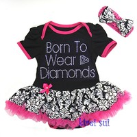 Black Damask Born To Wear Diamonds Romper Pettiskirt Tutu & Bow Headband Set