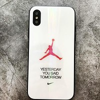 NIKE Jordan Fashion New Letter Print Laser Aurora Women Men Mobile Phone Case Cover White
