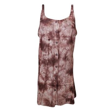 Mogul Womens Shift Dress Brown Floral Embroidered Sleeveless Button Front Scoop Neck Tie Dye Tunic Tank Dresses Sundress - Walmart.com