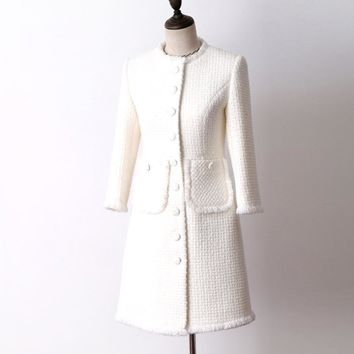 Trendy White wool tweed jacket in the long section of autumn and winter Women's Coat new seven-point sleeve Slim ladies jacket coat AT_94_13