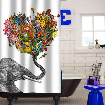 elephant flower art special custom shower curtain