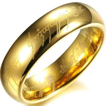Very popular 6mm gold color the lord of the ring Titanium steel jewelry ring wedding band