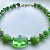 Green Beaded Necklace - Combination Bead Necklace - Seed Bead Ball Necklace - Green and Pastels Spring Charm Necklace
