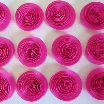 "Hot Pink single paper Roses set of 12 Loose 1.5"" blooms table decorations fuchsia wedding Bridal Shower Decor paper Flower table decoration home decor single rosette"
