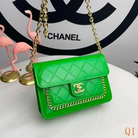 HCXX 19Sep 526 Fashion Patent Leather Crossbody Pouch Quilted Chain Flap Baguette Bag 21-13-6cm