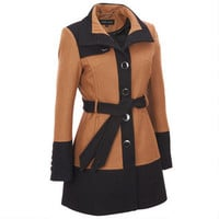 Black Rivet Banded Bottom Belted Wool Trench - View All - Women's - Wilsons Leather
