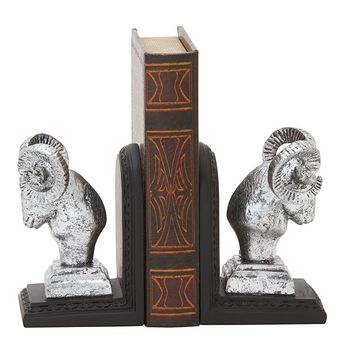 Deco 79 54896 Remarkable Ram Head Bookend Pair