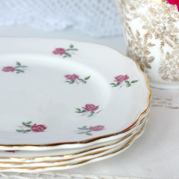 Set of 4 rosebuds tea / cake plates: vintage Colclough square side plates, perfect for a bridal shower or special tea party