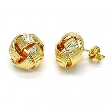 Gold Layered 02.63.2386 Stud Earring, Love Knot Design, Polished Finish, Golden Tone