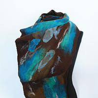 Felted scarf  hand  felted scarf  wool scarf  brown, turquoise, OOAK scarf, one of the kind, unique scarf