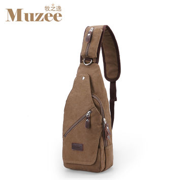 Muzee 2016 New Large capacity canvas men Chest Pack Cross body Sling men's Single Shoulder Bag