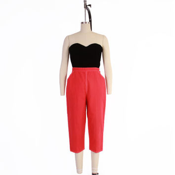 Vintage 50s PEDAL PUSHERS / 1950s High Waist RED Cotton Rockabilly Capri Pants S
