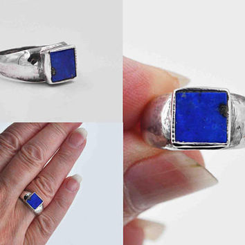 Vintage Sterling Silver Lapis Lazuli Ring, Blue Lapis Stone, Domed Band, Wide Band, Modernist, Square, Size 8, Blue Beauty!! #c106