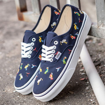 Trendsetter Vans Embroidery Bird Canvas Old Skool Flats Sneakers Sport Shoes