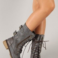 Lug-12 Distressed Leatherette Zipper Military Mid Calf Boot