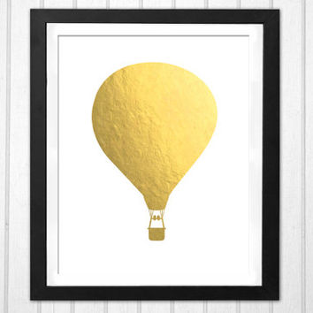 Hot air balloon faux gold silhouette print  INSTANT DOWNLOAD