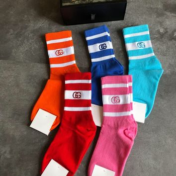 (Boxed) GUCCI GG Embroidered Stripe Socks