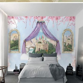 3D Cartoon Pattern Murals Castle Flowers Wallpapers Custom Photo Kids Walls Paper Painting Floral for Children's Room Home Decor