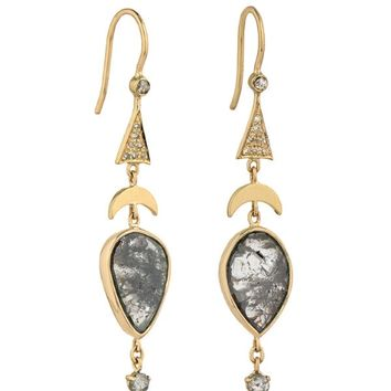 Grey Rose Cut Diamonds and Moon Pyramid Earrings