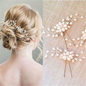 CREYCI7 New Fashion Bridal Hair Accessories Pearl Beaded Crystal Hairpin Flower Hair Pin Stick Wedding Jewelry