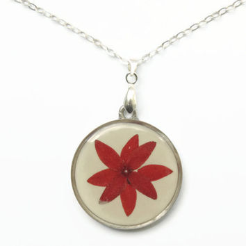 Pressed flowers pendant, dried flowers in resin, Red pendant, Silver, Real flower jewelry, Spring jewelry