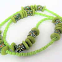 Green Floral Necklace, Hand Painted Pottery Beads, 26 Inch Necklace