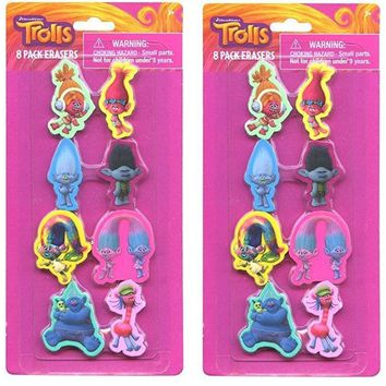 Party Favors Trolls Shaped Erasers (16 Count)