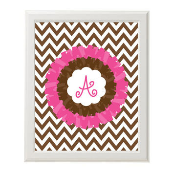 NURSERY WALL ART Initial Monogram Digital Girl Brown Chevron Pom Nursery Decor Instant Download Printable Letter Art Baby Shower Gift A B C