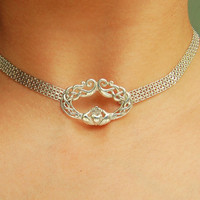 925 Sterling Silver Chain Locking Celtic Knot Claddagh BDSM Slave Bondage  Day Collar