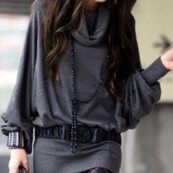 Dark Gray Casual Cotton Dress